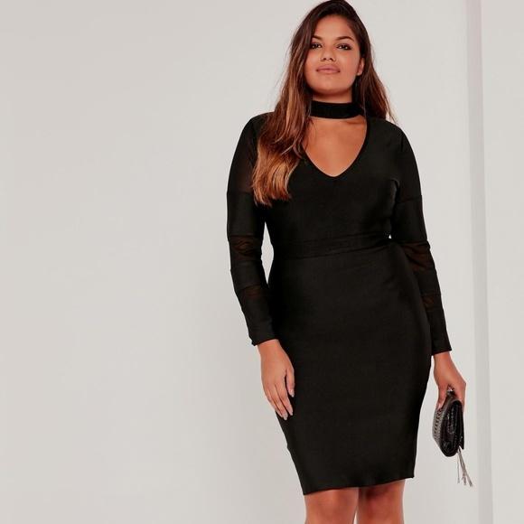 Plus Size Mesh Panel High Neck Bandage Dress Black Boutique